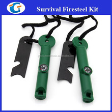 Ferrocerium Army Fire Starter Kit with Compass Whistle Metal Striker