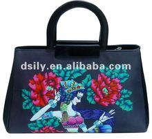 Oriental Fashion Ladies Handbag, Printed Flower Icon Tote Bag, D681A110022