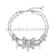 Economic promotional aqua acrylic statement necklace