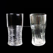 Upset with transparent glass, vertical stripes glass juice cup drinks milk tea glass waist beer quality