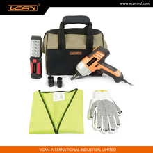 9pcs car body roadside repair tool emergency kit with electric wrench
