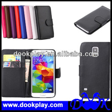 Wallet Leather Flip Case Cover For Samsung Galaxy S5 --- Black Color