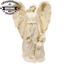 polyresin cream angel with child figurine
