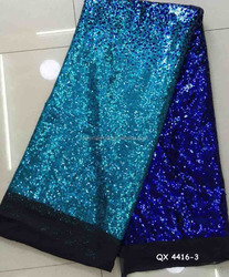 QX4416-3 sequin embroidery silk fabric soft feeling fashion design african wedding dresses