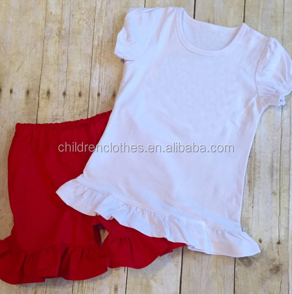 Wholesale children 39 s boutique clothing ruffly blank white for Wholesale children s t shirts