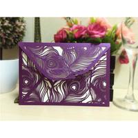 High Quality Fancy 2015 Laser Cut Peacock Wedding Invitation Cards