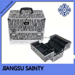 Zebra china wholesale vanity beauty cosmetic makeup case aluminum cosmetic case