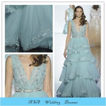 EV96 light blue Summer 2015 Lebanon heavy Beaded Fashion dress for women Designer evening dresses china