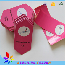 China wholesale custom pink hair extension tag with stickers