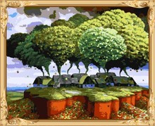 hot photo abstract tree framed canvas oil painting with numbers for wholesales GX7579