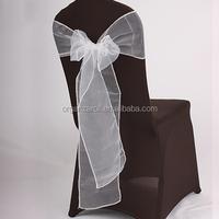 2015 Decoration Material Organza Fabric White Elastic Chair Sash