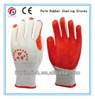 palm rubber coated gloves, green rubber /yellow rubber/red rubber 105G
