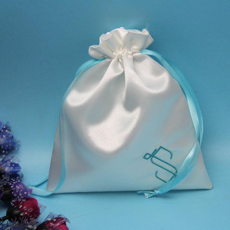 Wholesale Handmade Small Satini Pouch Drawstring Gift bag /cosmetic Embroidered Bag
