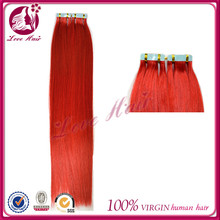 2.5g per piece perfect lady skin weft hair brazilian modern way tape hair red silk straight for hair