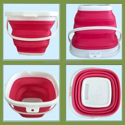 square folding water bucket FOOD GRADE silicone folding bucket