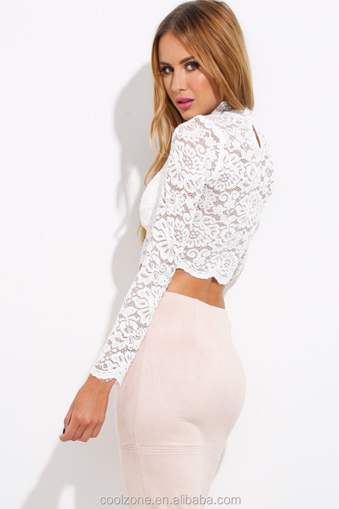 Wholesale clothing manufacturers elegant long sleeve lace crop top