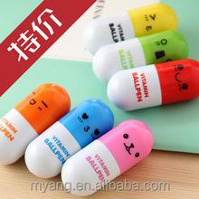 Promotional Creative plastic ballpoint pen with pill shaped top ,Capsule ballpoint pen,Vitamin ball pen