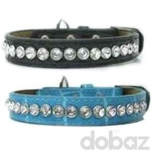 Rhinestone collar wholesale leather dog collars,leather pet collars