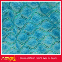 3+5mm spangle embroidery on mesh fabric bubble guipure nylon lace fabric