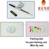 1m fishing rod with fly reel line hook lure mini colored pencil set for fishing