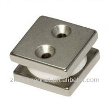 Square Nickel NdFeB magnet with two holes 40*40*5mm with plastic in the two sheets