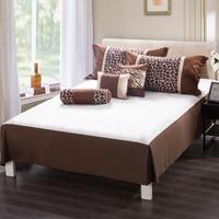 Homehug 7Pc Polyester Short Brushed Comforter Set Zebra Stripe Dot Pattern King Size Color Coffee
