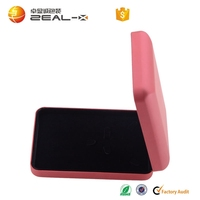 2015 new product high quality custom pink PU ring box with velvet