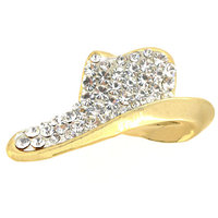 P168-982 fancy gold rhinestone cowboy hat brooch pin