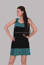 The merino wool green and black dress of women in summer