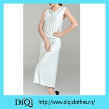 2014 china proveedor de la moda las mujeres sólido de color suave vestido de algodón vestido largo de desgaste de las mujeres