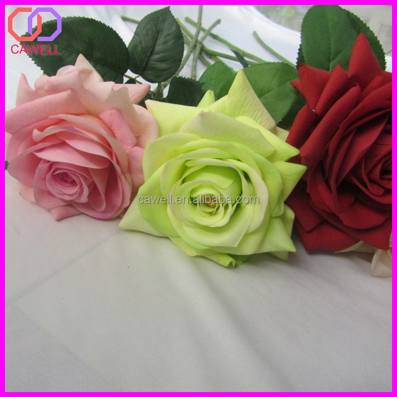 Natural touch multi colored scented artificial single rose for Natural multi colored roses