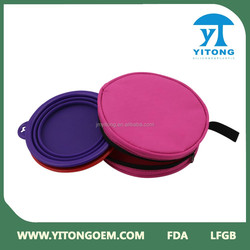 China company pet products collapsible pet bowl feeder set and collapsible silicone dog bowl
