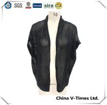 Fashion black short sleeve crochet acrylic cardigan women
