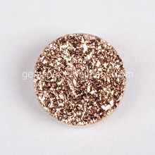 Fine quality natural flat druzy cabochon rose gold plated gemstone