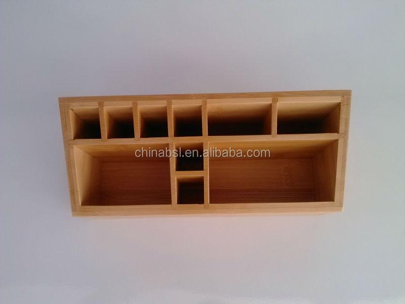 bamboo wooden makeup organizer storage box, makeup organizer