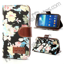 Beautiful Flower TPU Leather Case for Samsung i9295 Galaxy S4 Active, Flip Case for Samsung Galaxy S4 Active