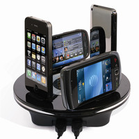black factory sell universal desktop mobile phone charger station 6 digital devices be charged in the same tim