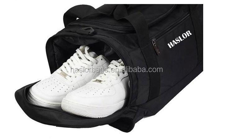 2015 sport Polyester sac de sport avec poches latérales pour chaussures