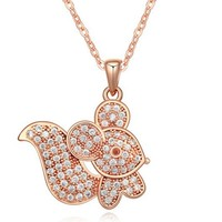 Jewelry Manufacturer China Zircon Squirrel Pendant Rose Gold Necklaces