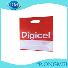 LDPE soft feeling red and white with English letter plastic shopping Bag