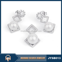 china wholesale beautiful costume african pearl jewelry sets 925 silver