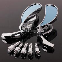 FLAME MIRRORS skull motorcycle For Yamaha Suzuki Kawasaki Harley