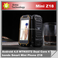 waterproof Cell Z18 MINI Phone 2.5 inch Mobile Phone MTK6572 Daul core Dual Sim Outdoor Smartphone Android 4