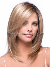 Fashion style unprocessed virgin brazilian hair blonde hair with brown highlight human hair lace front wigs with bangs