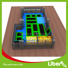 Foam Pit&ball pool Indoor Playground Rectangular Trampoline with Safety Nets