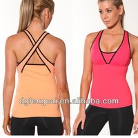 cotton spandex body mesh singlet top custom active yoga gym wear