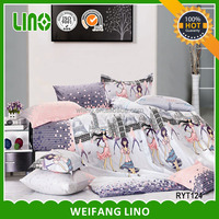 home textile printed pink bed sheets