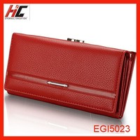 2015 new fashion long leather wallet for women red clutch wallet magnetic closure