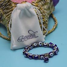 Cute white mini velvet bags drawstring velvet jewelry bag for promotion