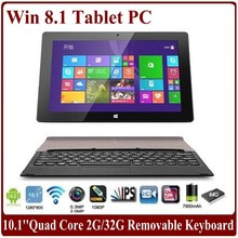 10.1 inch Capacitive Quad Core Tablets 1.5Ghz 2G/64G SSD WIFI HDMI Dual Camera Window 8 Tablet PC with Removable Keyboard